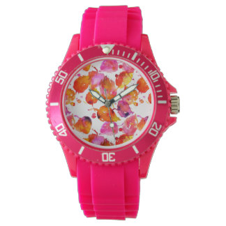 Lovely watercolor autumn leaves  pattern watch