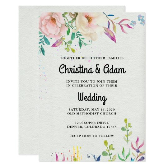 Lovely Watercolor Floral Wedding Card