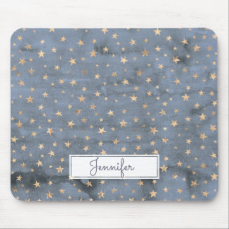 Lovely watercolor twinkle gold star lavender mouse mat