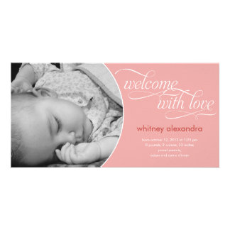Lovely Welcome Baby Birth Announcement - Pink Customized Photo Card