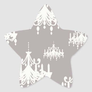 lovely white chandelier damask on grey silver star sticker