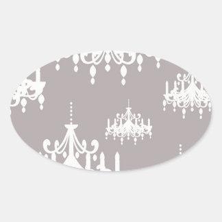 lovely white chandelier damask on grey silver oval sticker
