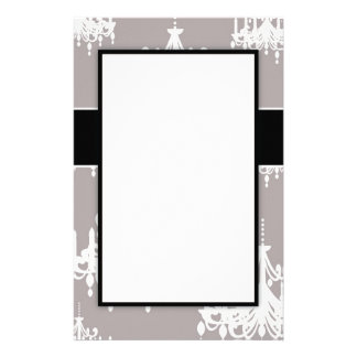 lovely white chandelier damask on grey customized stationery