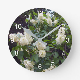 Lovely White Lilac Bush Round Clock