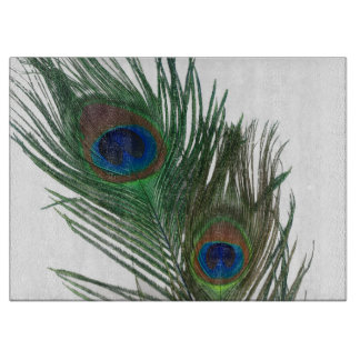 Lovely White Peacock Feathers Cutting Board