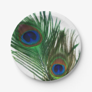 Lovely White Peacock Feathers Paper Plate