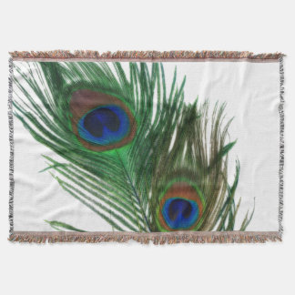 Lovely White Peacock Feathers Throw Blanket