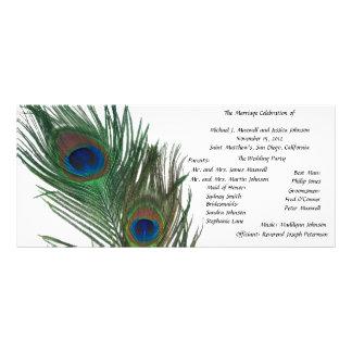 Lovely White Peacock Wedding Program Rack Card