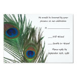 Lovely White Peacock Wedding RSVP 9 Cm X 13 Cm Invitation Card