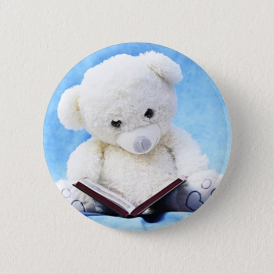 Lovely White Teddy Bear Read Book 6 Cm Round Badge