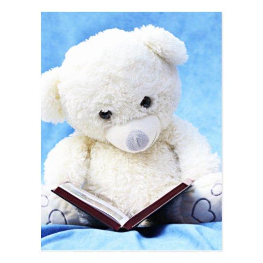 Lovely White Teddy Bear Read Book Postcard