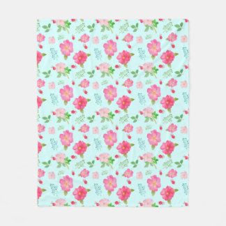 Lovely Wild Roses and Rose Hips Watercolor Pattern Fleece Blanket