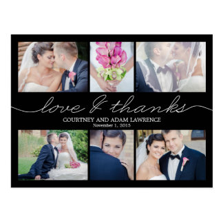 Lovely Writing Wedding Thank You Card - Black Postcard