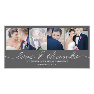 Lovely Writing Wedding Thank You Cards - Gray Customized Photo Card