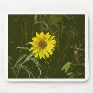Lovely Yellow Flower Painting Style Image & Green Mouse Pad