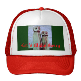 """LoveOwls"" Make Merry Cute Xmas Holiday Design Cap"
