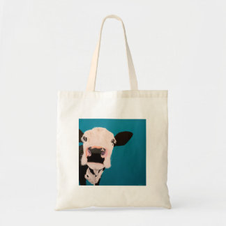 "' Lover Not a Fighter "" Cow tote bag. Budget Tote Bag"