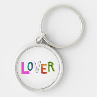 Lover partner girlfriend boyfriend spouse word art Silver-Colored round key ring