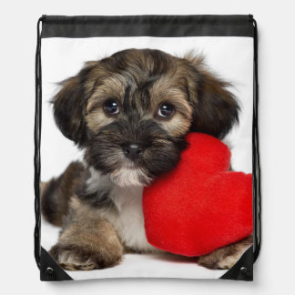 Lover Valentine Havanese Puppy Dog Drawstring Bag