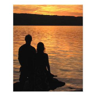 Lovers at Sunset Lake Photo Print