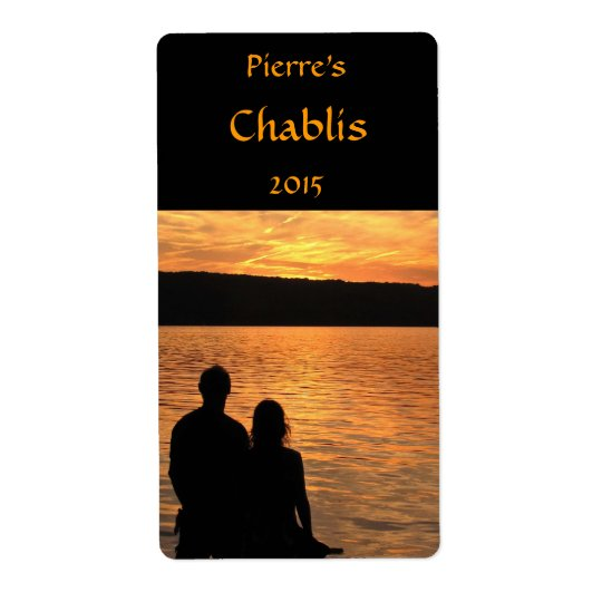 Lovers at Sunset Lake Wine Label