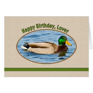 Lover's Birthday Card with Mallard Duck