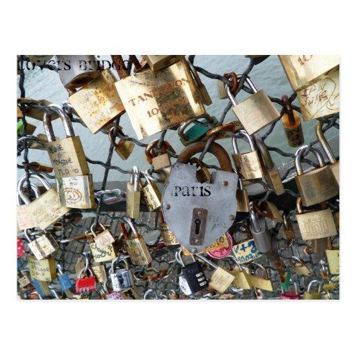 Lovers Bridge Locks Paris Seine Monument Amor Post Card