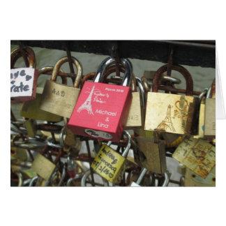 Lovers Bridge - Paris Love Locks, France - Zoom in Greeting Card