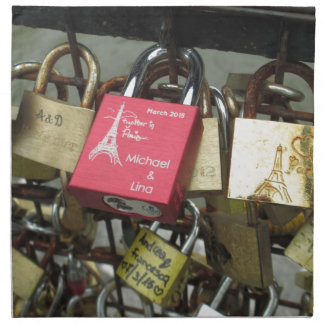 Lovers Bridge - Paris Love Locks, France - Zoom in Napkin