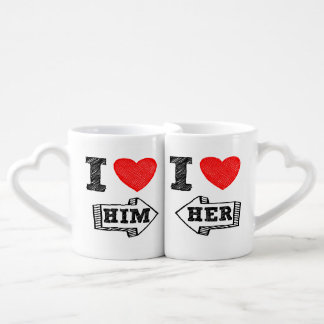 Lover's Cup I ♥ HIM & I ♥ Her Nesting Mugs