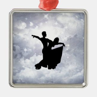 Lovers dancing in romance square metal christmas ornament