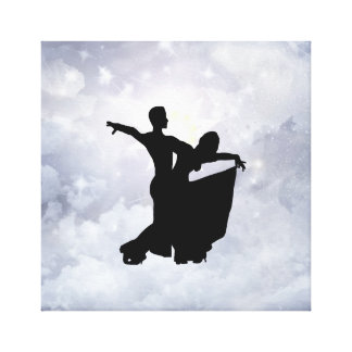 Lovers dancing in romance stretched canvas prints