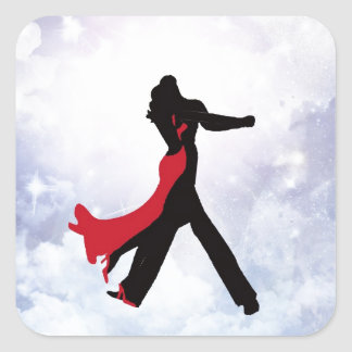 Lovers dancing in the love star square sticker