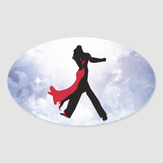 Lovers dancing in the love star sticker