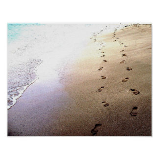 Lovers Footprints Dot Sand Secluded Barbados Beach Poster
