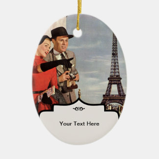Lovers in Paris - Retro Illustration Christmas Tree Ornaments