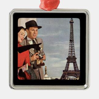 Lovers in Paris - Retro Illustration Silver-Colored Square Decoration