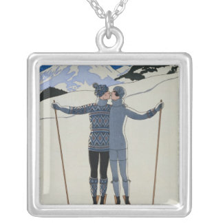 <Lovers in the Snow> by Georges Barbier Silver Plated Necklace