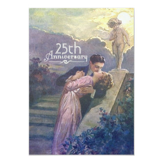 Lovers Kiss Vintage Cupid 25th Anniversary Custom 13 Cm X 18 Cm Invitation Card