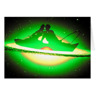Lovers Kissing and Fishing on a greenish Galaxy. Card