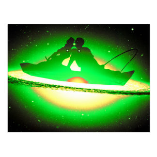 Lovers Kissing and Fishing on a greenish Galaxy. Postcard