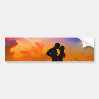 Lovers Kissing at Sunset on the Beach Bumper Sticker