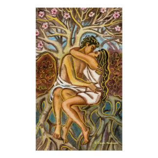 Lovers kissing each other under a blooming tree poster