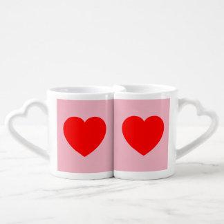 Lovers' Mug Set - Red Hearts on Pink Background