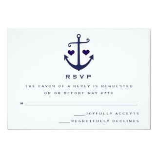 Lovers Navy Nautical Anchor Wedding RSVP 9 Cm X 13 Cm Invitation Card