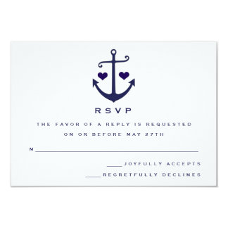 Lovers Navy Nautical Anchor Wedding RSVP Card