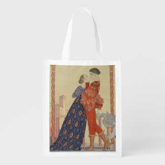 Lovers on a Balcony (w/c on paper) Grocery Bag