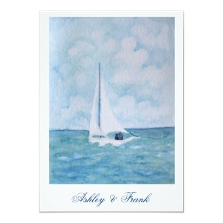 Lovers on a sailboat -  wedding invitation