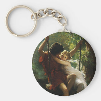 Lovers on a Swing. Spring by Pierre Auguste Cot Basic Round Button Key Ring