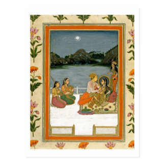 Lovers on a terrace by a moonlit lake, from the Sm Postcard